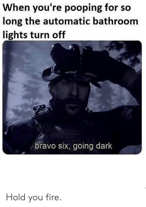 automatic: When you're pooping for so  long the automatic bathroom  lights turn off  bravo six, going dark Hold you fire.