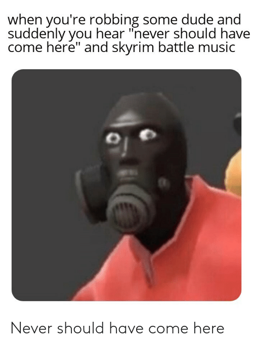 "Dude, Music, and Skyrim: when you're robbing some dude and  suddenly you hear ""never should have  come here"" and skyrim battle music Never should have come here"