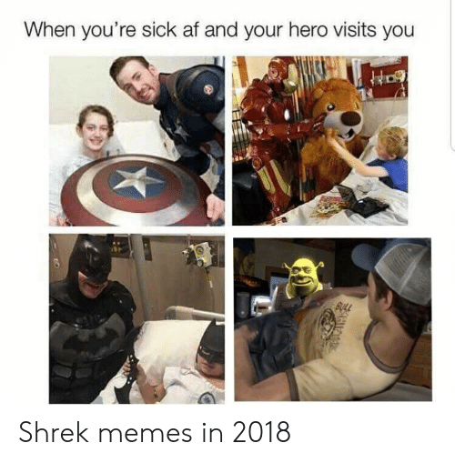 When Youre Sick: When you're sick af and your hero visits you Shrek memes in 2018