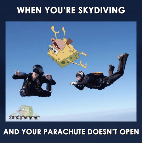 skydive: WHEN YOU'RE SKYDIVING  @its Spongegar  AND YOUR PARACHUTE DOESN'T OPEN