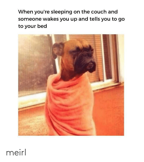 Couch, Sleeping, and MeIRL: When you're sleeping on the couch and  someone wakes you up and tells you to go  to your bed meirl