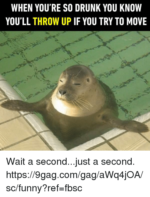 9gag, Dank, and Drunk: WHEN YOU'RE SO DRUNK YOU KNOW  YOU'LL THROW UP IF YOU TRY TO MOVE Wait a second...just a second. https://9gag.com/gag/aWq4jOA/sc/funny?ref=fbsc