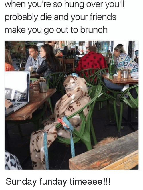 brunch: when you're so hung over you'll  probably die and your friends  make you go out to brunch Sunday funday timeeee!!!