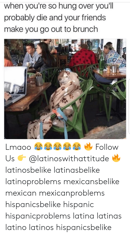 Friends, Latinos, and Memes: when you're so hung over you'll  probably die and your friends  make you go out to brunch Lmaoo 😂😂😂😂😂 🔥 Follow Us 👉 @latinoswithattitude 🔥 latinosbelike latinasbelike latinoproblems mexicansbelike mexican mexicanproblems hispanicsbelike hispanic hispanicproblems latina latinas latino latinos hispanicsbelike