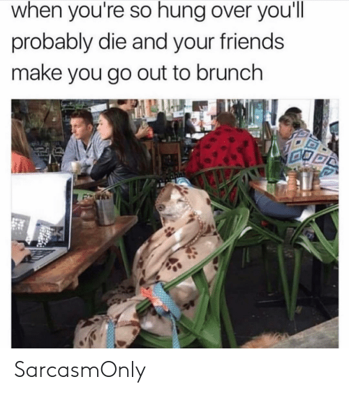 brunch: when you're so hung over you'll  probably die and your friends  make you go out to brunch SarcasmOnly