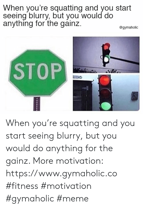 Meme, Fitness, and Motivation: When you're squatting and you start  seeing blurry, but you would do  anything for the gainz  @gymaholic  STOP When you're squatting and you start seeing blurry, but you would do anything for the gainz.  More motivation: https://www.gymaholic.co  #fitness #motivation #gymaholic #meme