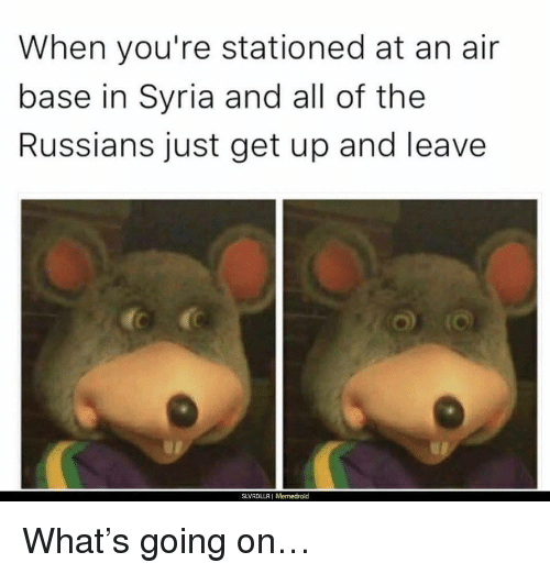 Memedroid: When you're stationed at an air  base in Syria and all of the  Russians just get up and leave  SLVRDLLRI Memedroid <p>What&rsquo;s going on&hellip;</p>
