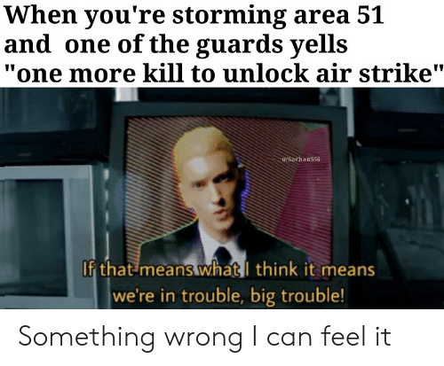 "Reddit, Big Trouble, and Area 51: When you're storming area 51  and one of the guards yells  ""one more kill to unlock air strike""  u/Sarhan556  If that means whatI think it means  we're in trouble, big trouble! Something wrong I can feel it"
