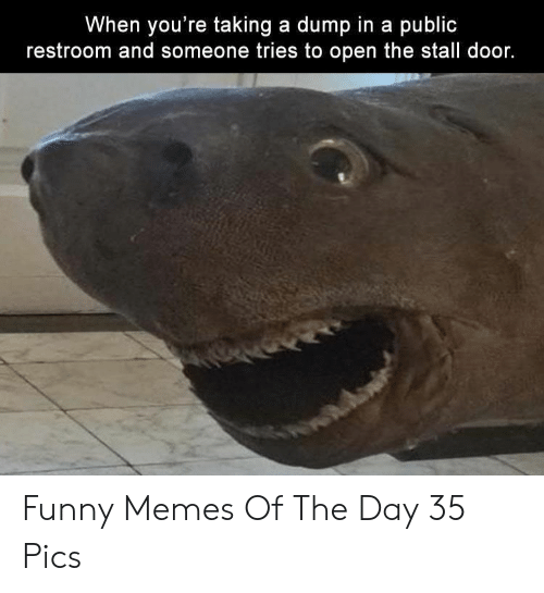 Funny, Memes, and Open: When you're taking a dump in a public  restroom and someone tries to open the stall door. Funny Memes Of The Day 35 Pics