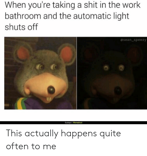 Memedroid: When you're taking a shit in the work  bathroom and the automatic light  shuts off  sean speezy  Gustapo | Memedroid This actually happens quite often to me