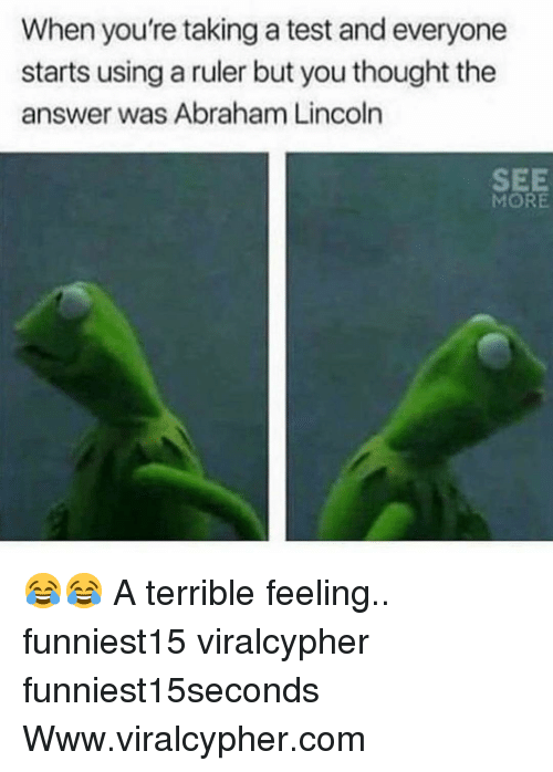 Abraham Lincoln, Funny, and Abraham: When you're taking a test and everyone  starts using a ruler but you thought the  answer was Abraham Lincoln  SEE  MORE 😂😂 A terrible feeling.. funniest15 viralcypher funniest15seconds Www.viralcypher.com