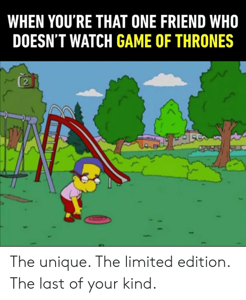 That One Friend: WHEN YOU'RE THAT ONE FRIEND WHO  DOESN'T WATCH GAME OF THRONES  2 The unique. The limited edition. The last of your kind.