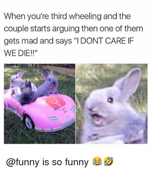 """Wheeling: When you're third wheeling and the  couple starts arguing then one of them  gets mad and says """"I DONT CARE IF  WE DIE!!"""" @funny is so funny 😂🤣"""