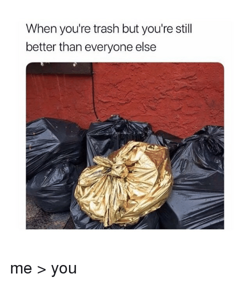Better Than Everyone Else: When you're trash but you're stil  better than everyone else me > you