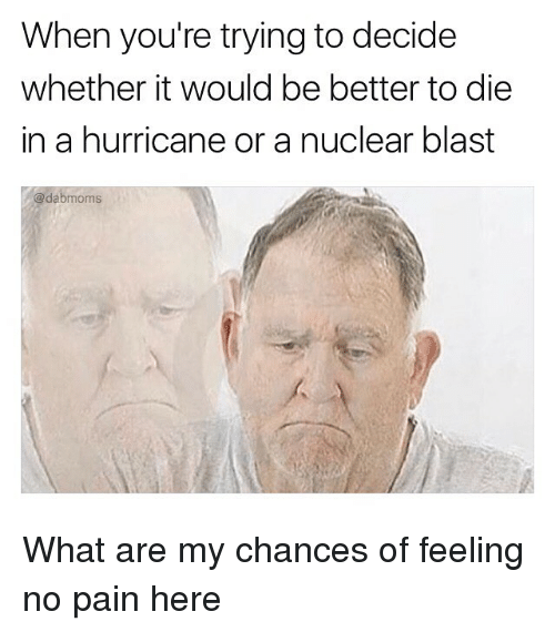 Memes, Hurricane, and Pain: When you're trying to decide  whether it would be better to die  in a hurricane or a nuclear blast  @dabmoms What are my chances of feeling no pain here