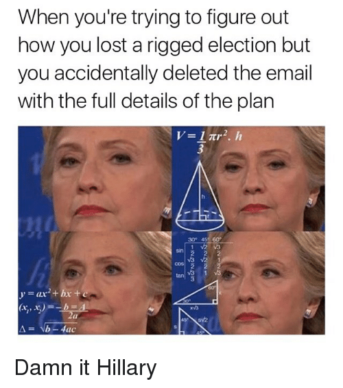Funny, Memes, and Lost: When you're trying to figure out  how you lost a rigged election but  you accidentally deleted the email  with the full details of the plan  30 45 60  b-4lac Damn it Hillary
