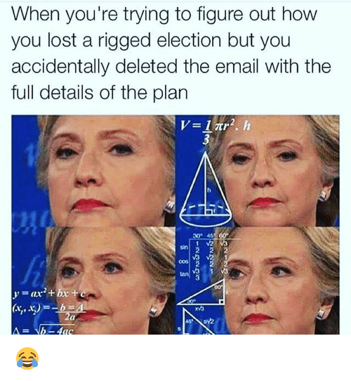 Memes, Lost, and Email: When you're trying to figure out how  you lost a rigged election but you  accidentally deleted the email With the  full details of the plan  30 45  tan 😂