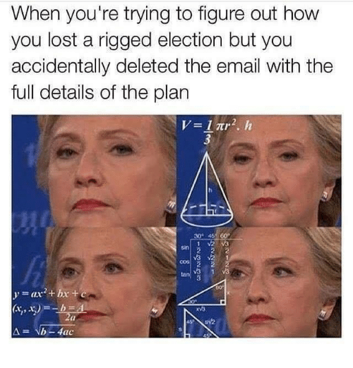 Lost, Email, and Tanning: When you're trying to figure out how  you lost a rigged election but you  accidentally deleted the email with the  full details of the plan  30 45 60  tan  b-Atac
