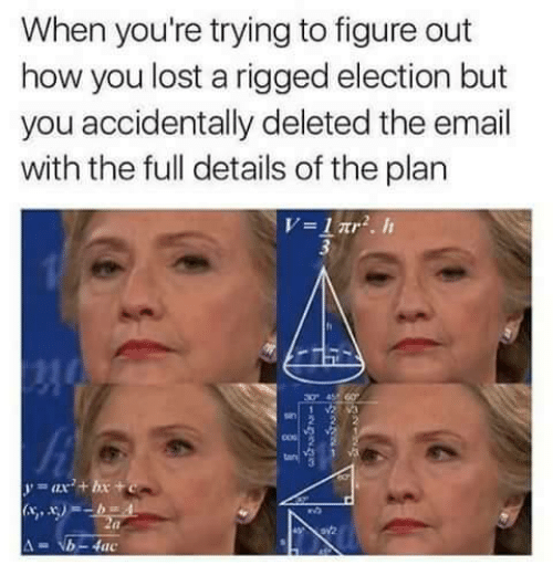 Fac, Memes, and Email: When you're trying to figure out  how you lost a rigged election but  you accidentally deleted the email  with the full details of the plan  V 1 2.  b- fac