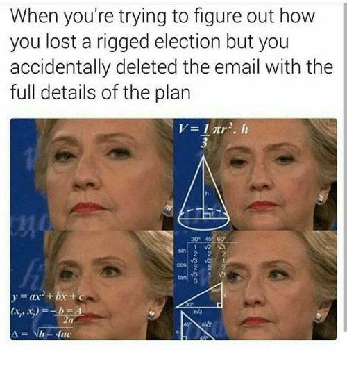 Memes, Email, and 🤖: When you're trying to figure out how  you lost a rigged election but you  accidentally deleted the email with the  full details of the plan