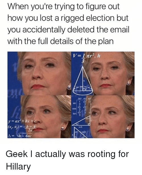 Memes, Email, and 🤖: When you're trying to figure out  how you lost a rigged election but  you accidentally deleted the email  with the full details of the plan  V 1 2, h  1 V2 va  M3 M2 1 Geek I actually was rooting for Hillary