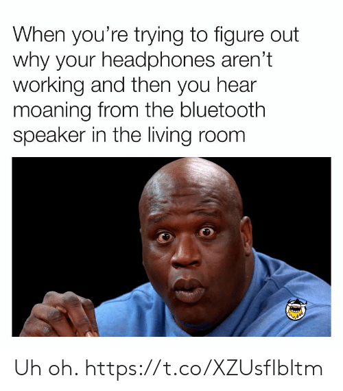 Bluetooth, Funny, and Headphones: When you're trying to figure out  why your headphones aren't  working and then you hear  moaning from the bluetooth  speaker in the living room Uh oh. https://t.co/XZUsfIbItm
