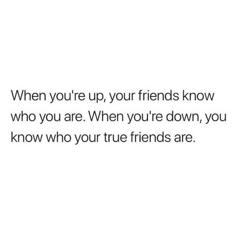 true friends: When you're up, your friends know  who you are. When you're down, you  know who your true friends are.