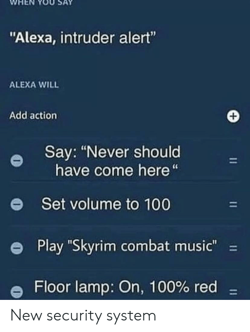 """Anaconda, Music, and Skyrim: WHEN YOUSAY  """"Alexa, intruder alert""""  ALEXA WILL  Add action  Say: """"Never should  have come here""""  e  Set volume to 100  e Play """"Skyrim combat music""""-  Floor lamp: On, 100% red- New security system"""