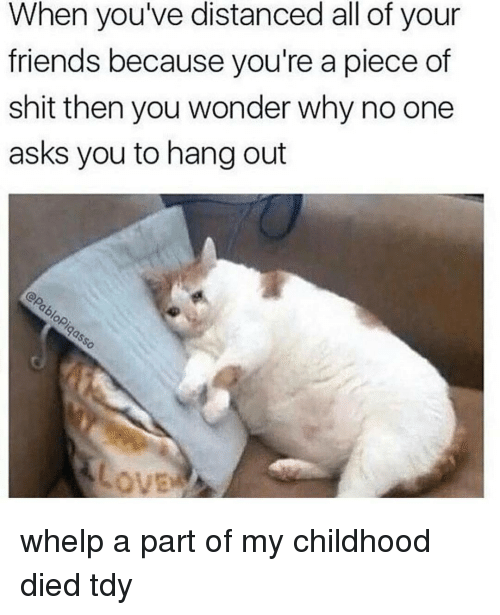 Piece Of Shits: When you've distanced all of your  friends because you're a piece of  shit then you wonder why no one  asks you to hang out whelp a part of my childhood died tdy
