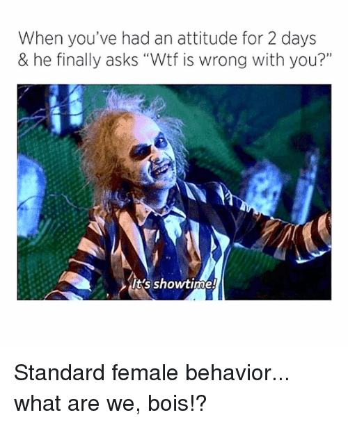 """Memes, Wtf, and Showtime: When you've had an attitude for 2 days  & he finally asks """"Wtf is wrong with you?""""  it's showtime! Standard female behavior... what are we, bois!?"""