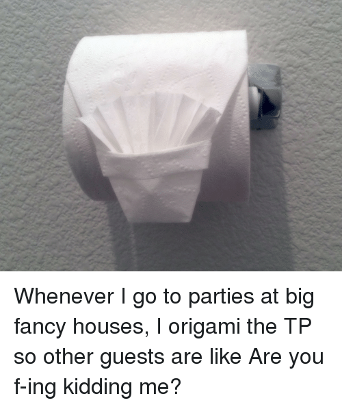 Origami: Whenever I go to parties at big fancy houses, I origami the TP so other guests are like Are you f-ing kidding me?