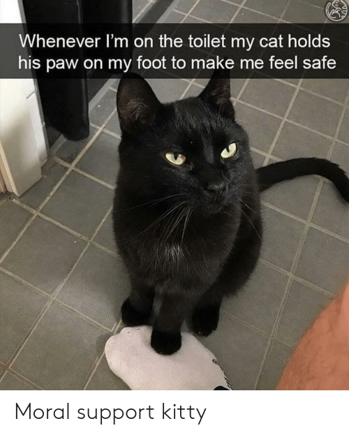 Cat, Foot, and Safe: Whenever l'm on the toilet my cat holds  his paw on my foot to make me feel safe Moral support kitty