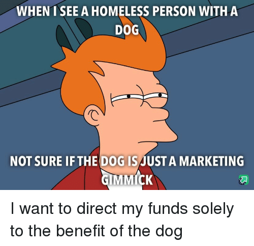 Homeless, Dog, and Marketing: WHENT SEE A HOMELESS PERSON WITHA  DOG  NOT SURE IF THE DOG ISJUST A MARKETING I want to direct my funds solely to the benefit of the dog