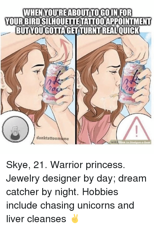Funny, Jewelry, and Princess: WHENYOUREABOUTTOGOINIFOR  YOUR BIRDSILHOUETTE TATTOOAPPOINTMENT  BUTVOUGOTTAGETTURNTREALQUICK  danktattoomame Skye, 21. Warrior princess. Jewelry designer by day; dream catcher by night. Hobbies include chasing unicorns and liver cleanses ✌️