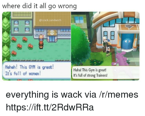 Gym, Memes, and Strong: where did it all go wrong  @crack.sandwich  Heheh! This GM is great!  It's full ofomen  Haha! This Gym is great!  It's full of strong Trainers! everything is wack via /r/memes https://ift.tt/2RdwRRa