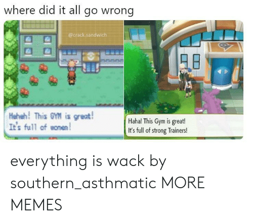 Dank, Gym, and Memes: where did it all go wrong  @crack.sandwich  Heheh! This GM is great!  It's full ofomen  Haha! This Gym is great!  It's full of strong Trainers! everything is wack by southern_asthmatic MORE MEMES