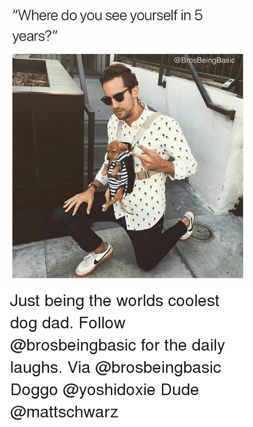 "Dad, Dude, and Memes: ""Where do you see yourself in 5  years?""  @BrosBeingBasic Just being the worlds coolest dog dad. Follow @brosbeingbasic for the daily laughs. Via @brosbeingbasic Doggo @yoshidoxie Dude @mattschwarz"