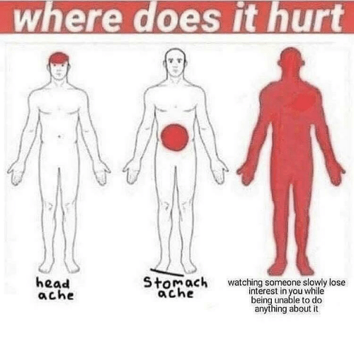 stomach ache: where does it hurt  head  ache  Stomach  ache  watching someone slowly lose  interest in you while  being unable to do  anything about it