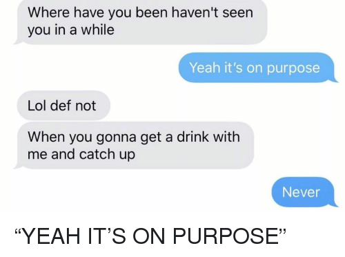 """Lol, Relationships, and Texting: Where have you been haven't seen  you in a while  Yeah it's on purpose  Lol def not  When you gonna get a drink with  me and catch up  Never """"YEAH IT'S ON PURPOSE"""""""