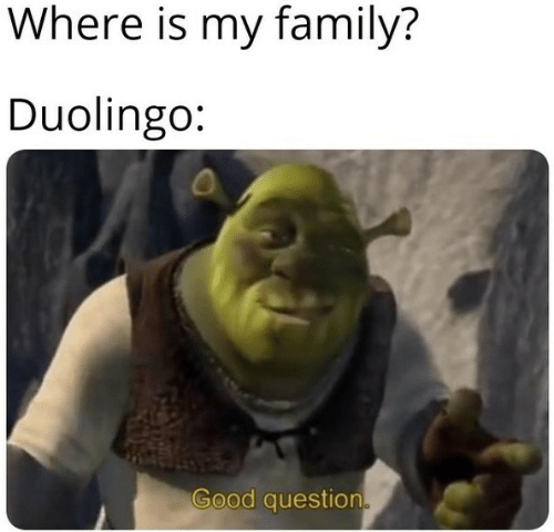 Good Question: Where is my family?  Duolingo:  Good question