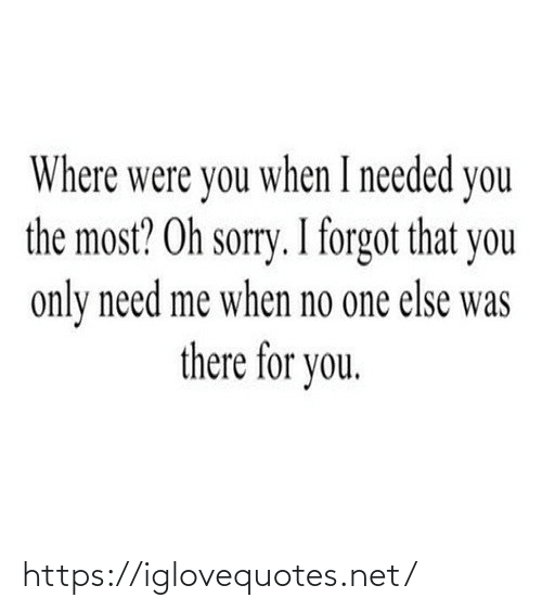 else: Where were you when I needed you  the most? Oh sorry. I forgot that you  only need me when no one else was  there for you. https://iglovequotes.net/