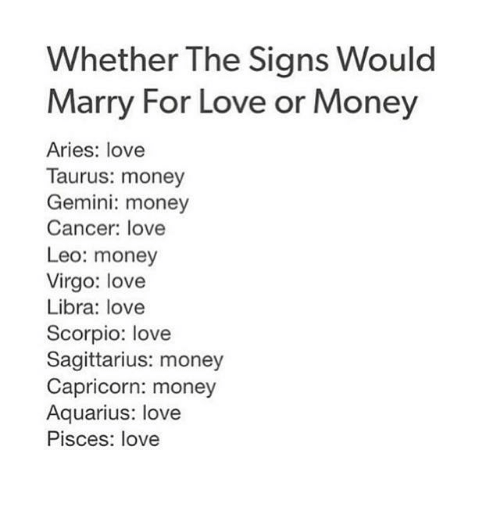 Whether the Signs Would Marry for Love or Money Aries Love