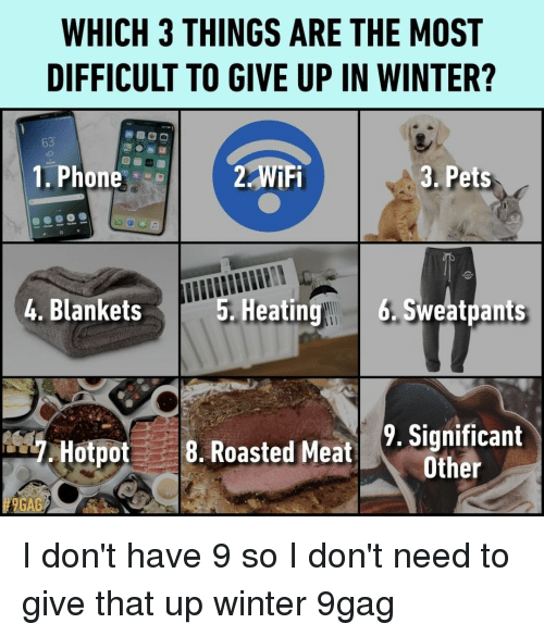 9gag, Memes, and Phone: WHICH 3 THINGS ARE THE MOST  DIFFICULT TO GIVE UP IN WINTER?  8  3. Pets  63  1. Phone  2 WiFi  4. Blankets  5. Heatin  g 6.Sweatpants  Hotpot8. Roasted Meat Scan  9. Significant  Other  # 9GAG I don't have 9 so I don't need to give that up⠀ winter 9gag