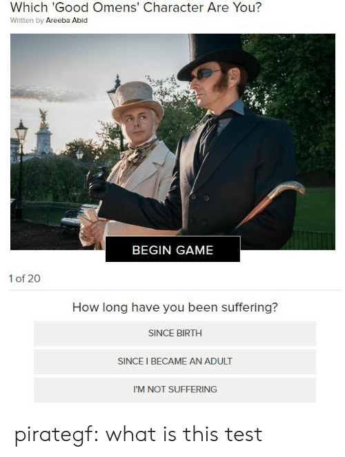 what is this: Which 'Good Omens' Character Are You?  Written by Areeba Abid  BEGIN GAME   1 of 20  How long have you been suffering?  SINCE BIRTH  SINCE I BECAME AN ADULT  I'M NOT SUFFERING pirategf:  what is this test