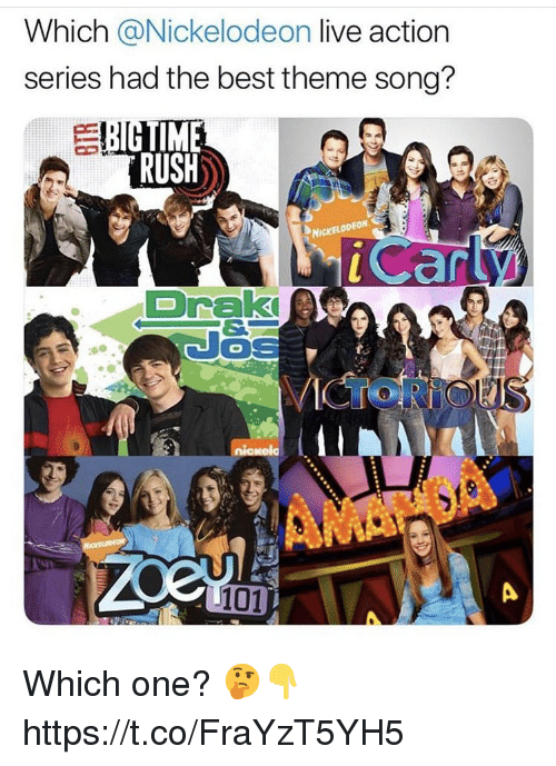 Nickelodeon, Best, and Live: Which @Nickelodeon live action  series had the best theme song?  TIME  RUSH  car  DrakI  101 Which one? 🤔👇 https://t.co/FraYzT5YH5