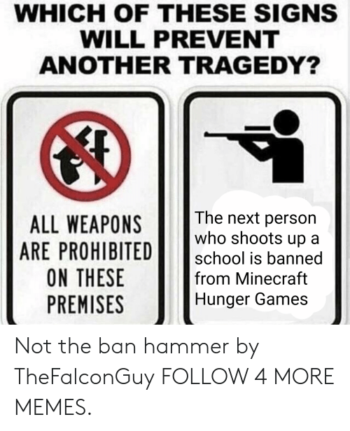 Premises: WHICH OF THESE SIGNS  WILL PREVENT  ANOTHER TRAGEDY?  The next person  who shoots up  ALL WEAPONS  ARE PROHIBITED  ON THESE  PREMISES  school is banned  from Minecraft  Hunger Games Not the ban hammer by TheFalconGuy FOLLOW 4 MORE MEMES.