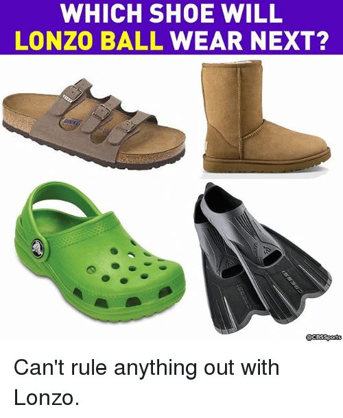 Cbssports: WHICH SHOE WILL  LONZO BALL WEAR NEXT?  @CBSSports  BS Can't rule anything out with Lonzo.