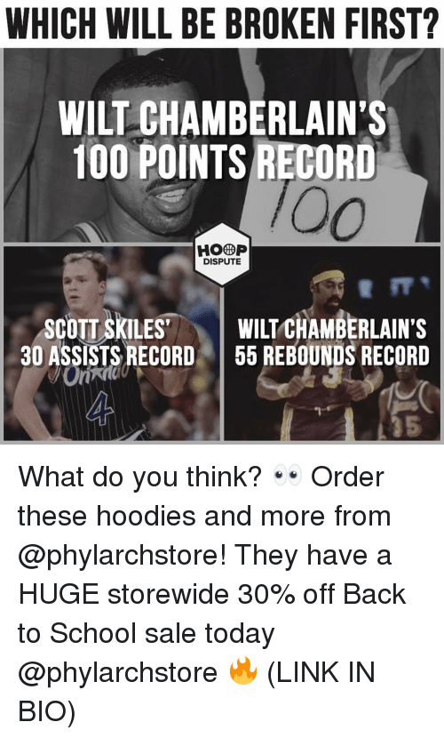 """Anaconda, Memes, and School: WHICH WILL BE BROKEN FIRST?  WILT CHAMBERLAIN'S  100 POINTS RECORD  HOOP  DISPUTE  SCOTT SKILES""""  30 ASSISTS RECORD  I WILT CHAMBERLAIN'S  1 55 REBOUNDS RECORD  5 What do you think? 👀 Order these hoodies and more from @phylarchstore! They have a HUGE storewide 30% off Back to School sale today @phylarchstore 🔥 (LINK IN BIO)"""