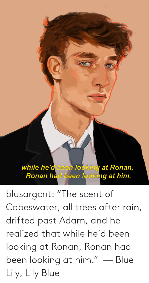"Realized: while he'd been looking at Ronan,  Ronan had been looking at him. blusargcnt:  ""The scent of Cabeswater, all trees after rain, drifted past Adam, and he realized that while he'd been looking at Ronan, Ronan had been looking at him.""  ― Blue Lily, Lily Blue"