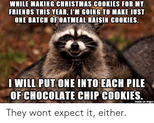 Christmas, Cookies, and Friends: WHILE MAKING CHRISTMAS COOKIES FOR MY  FRIENDS THIS YEAR, I'M GOING TO MAKE JUST  ONE BATCH OF OATMEAL RAISIN COOKIES.  WILL PUT ONE INTO EACH PILE  OF CHOCOLATE CHIP COOKIES.  made on imgur They wont expect it, either.